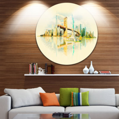 Design Art New York Panoramic View Disc CityscapeWatercolor Circle Metal Wall Art