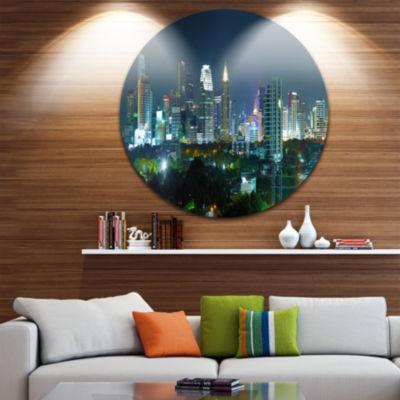 Design Art Night City Bangkok Cityscape Disc Photography Circle Metal Wall Art