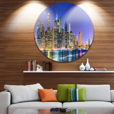 Design Art New York Cityscape Panorama Disc Photography Landscape Circle Metal Wall Art