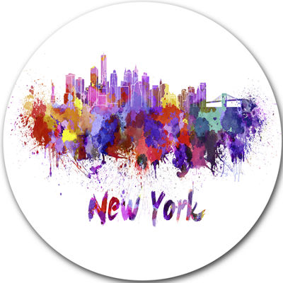 Design Art New York Skyline Disc Cityscape Metal Artwork Print