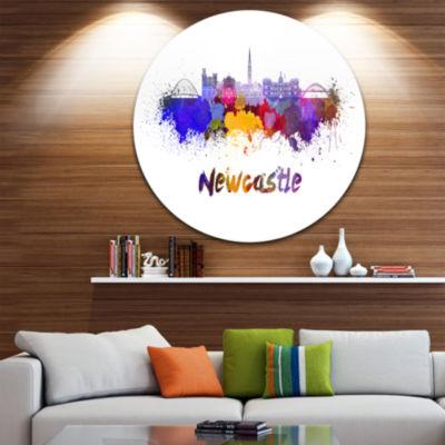 Design Art Newcastle Skyline Disc Cityscape CircleMetal Wall Art