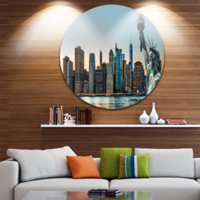 Design Art New York City Skyline Panorama Disc Photography Circle Metal Wall Art