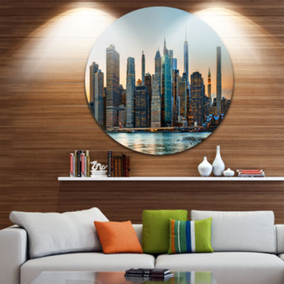 Design Art New York City Skyline Disc PhotographyCircle Metal Wall Art