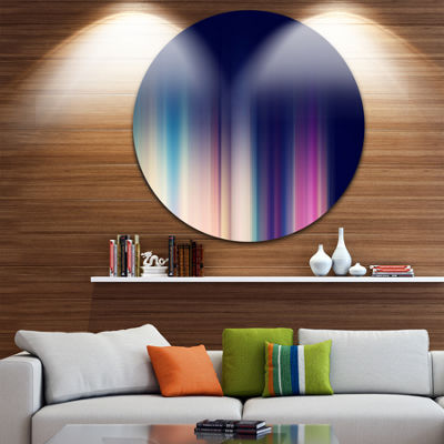 Design Art Neon Blue Abstract Lines Abstract Circle Metal Wall Art