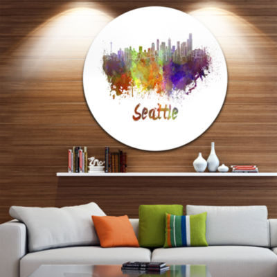 Design Art Seattle Skyline Disc Cityscape Metal Artwork Print