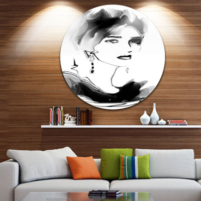 Design Art Pretty Woman Black Abstract Portrait Circle Metal Wall Art