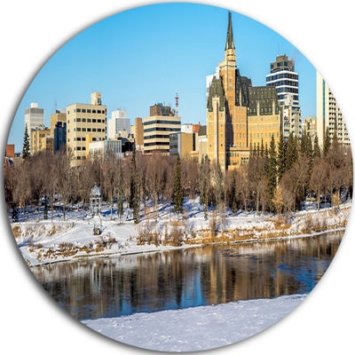 Design Art Saskatoon Skyline Disc Landscape PhotoCircle Metal Wall Art