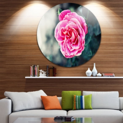 Design Art Red Rose in Vintage Style Floral CircleMetal Wall Art