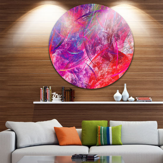 Design Art Red Swirling Clouds Abstract Circle Metal Wall Art