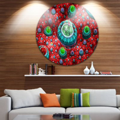Design Art Red Fractal Exotic Planet Abstract Round Circle Metal Wall Art