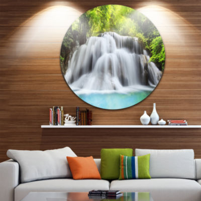 Design Art Rushing Huai Mae Kamin Waterfall Disc Landscape Photography Circle Metal Wall Art