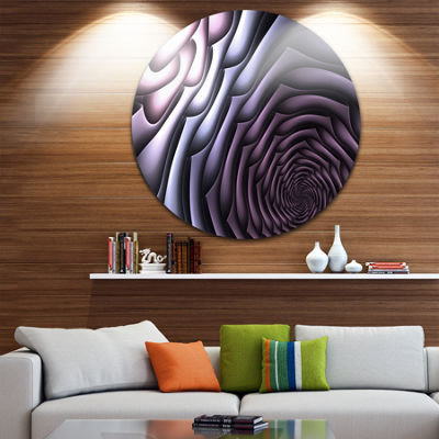 Design Art Purple Flower Shaped Fractal Art Abstract Round Circle Metal Wall Decor Panel