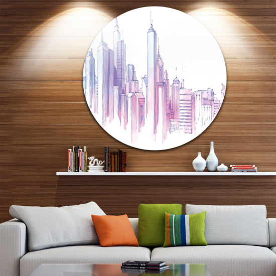 Design Art Purple City Skyline Disc Cityscape Painting Circle Metal Wall Art