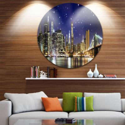 Design Art Night Colors over Brooklyn Bridge DiscCityscape Photo Circle Metal Wall Art