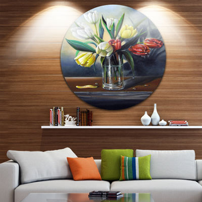 Design Art Red White Yellow Tulips Disc Floral Metal Artwork