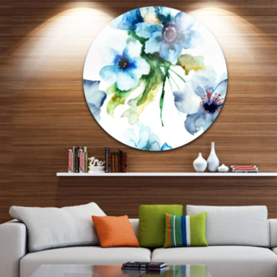 Design Art Seamless Summer Blue Flowers Floral Metal Circle Wall Art