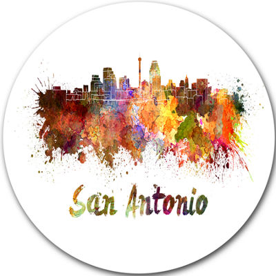 Design Art San Antonio Skyline Disc Cityscape Metal Artwork Print