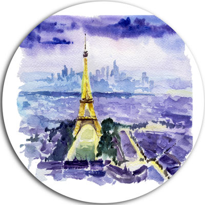 Design Art Paris Eiffel Tower on Blue Background Disc Contemporary Circle Metal Wall Art