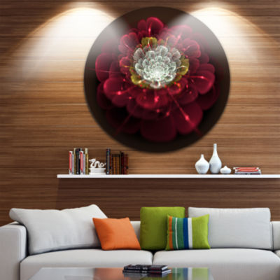 Design Art Red Fractal Flower with White Floral Circle Metal Wall Art