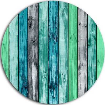 Design Art Painted Wooden Planks Disc Abstract Circle Metal Wall Art