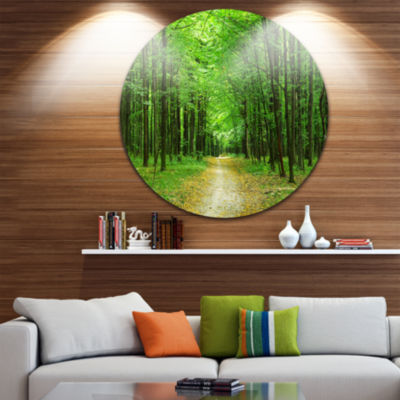 Design Art Pathway in Green Forest Landscape Photography Circle Metal Wall Art