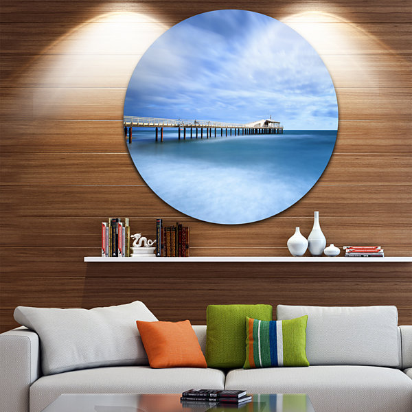 Design Art Pier Infinite to Blue Sea Seascape Circle Metal Wall Art