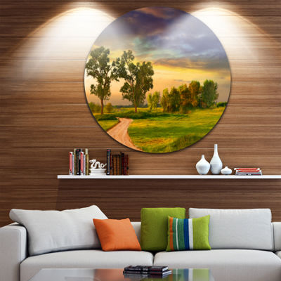 Design Art Road to Bliss Landscape Circle Metal Wall Art