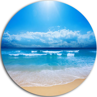Design Art Paradise Beach Disc Seascape Photography Circle Metal Wall Art