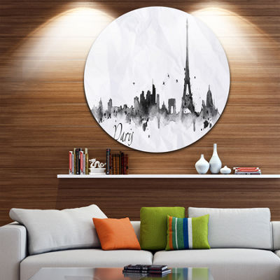 Design Art Paris with Eiffel Silhouette Disc Cityscape Painting Circle Metal Wall Art