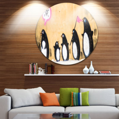 Design Art Penguin on the Wall Disc Street Art Circle Metal Wall Art
