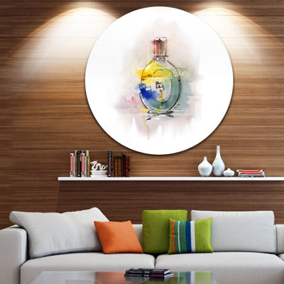 Design Art Perfume Bottle Disc Contemporary CircleMetal Wall Art