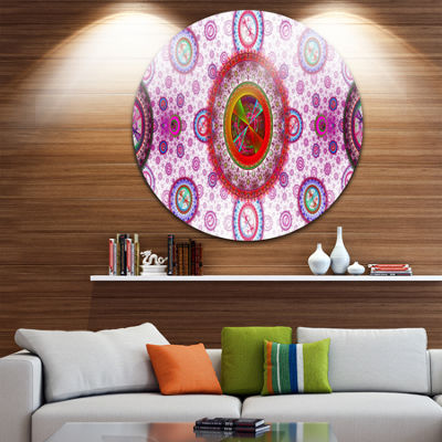Design Art Pink Psychedelic Relaxing Art AbstractRound Circle Metal Wall Decor