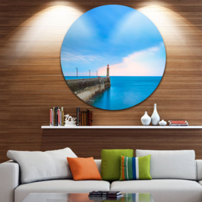 Design Art Pier and Lightour in Sunset Seascape Circle Metal Wall Art