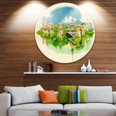 Design Art Paris Panoramic View Disc Cityscape Watercolor Circle Metal Wall Art