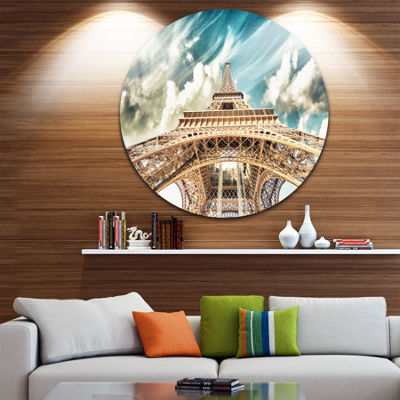 Design Art Paris Eiffel Tower Under Blue Sky DiscPhotography Circle Metal Wall Art