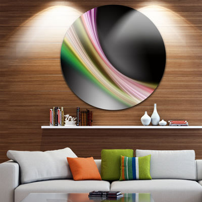 Design Art Pink Green Abstract Lines Abstract Circle Metal Wall Art
