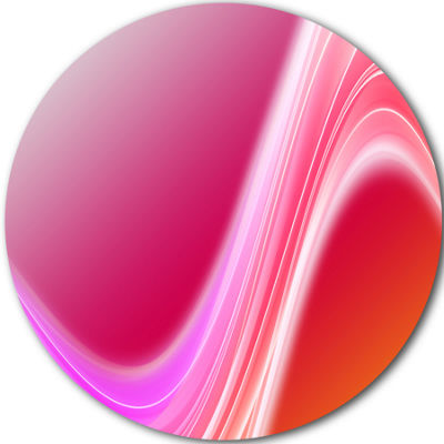 Design Art Pink Abstract Curved Lines Abstract Circle Circle Metal Wall Art