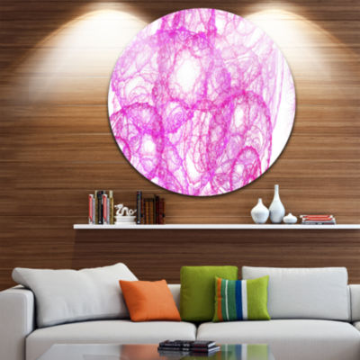 Design Art Pink Pattern on White Background Abstract Round Circle Metal Wall Art