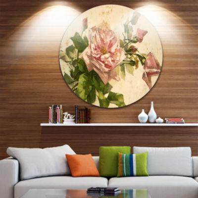 Design Art Pink Flower Illustration Disc Floral Metal Artwork