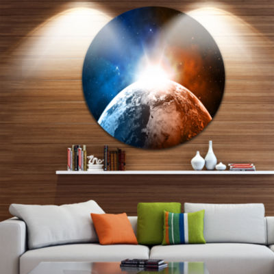 Design Art Planet with Sunrise in Space Disc Contemporary Circle Metal Wall Art
