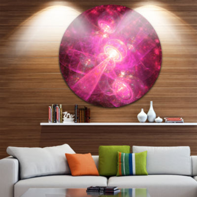 Design Art Pink Fractal Space Theme Abstract RoundCircle Metal Wall Decor