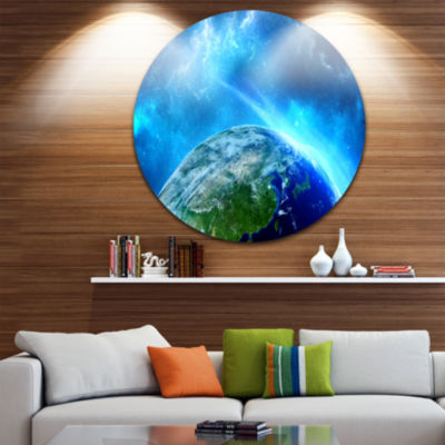 Design Art Planet Earth in Universe Disc Contemporary Circle Metal Wall Art