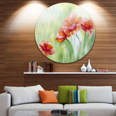 Design Art Poppies in Light Green Floral Circle Metal Wall Art