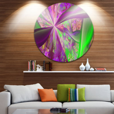 Design Art Pink Green Fractal Curves Abstract Round Circle Metal Wall Art