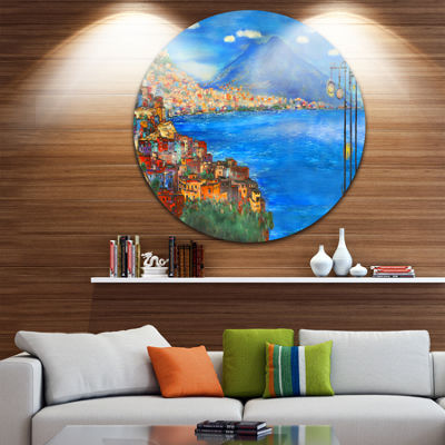 Design Art Saturday Night Sea Disc Landscape Painting Circle Metal Wall Art
