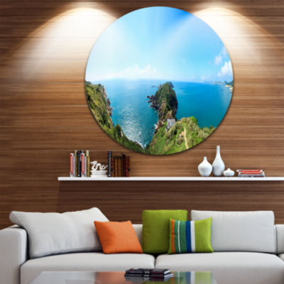 Design Art Seascape View from Hillside Disc Photography Circle Metal Wall Art