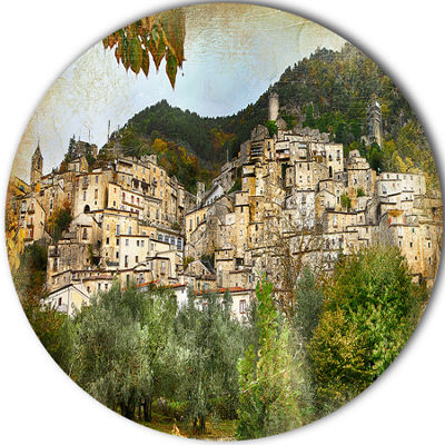 Design Art Old Italian Villages Disc Landscape Photography Circle Metal Wall Art