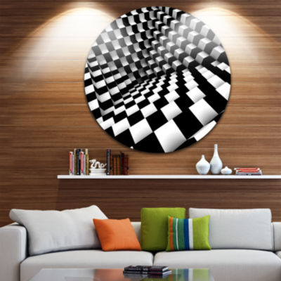 Design Art Optical Black and White Pattern Disc Abstract Circle Metal Wall Art