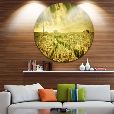 Design Art Paris Panorama with Scenic Sky SkylinePhotography Circle Metal Wall Art