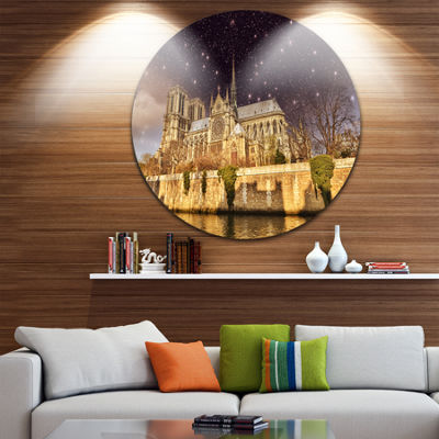 Design Art Notre Dame Cathedral at Night Disc Cityscape Photo Circle Metal Wall Art